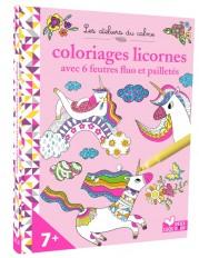 Coloriages Licornes - avec 6 feutres fluo et pailletés