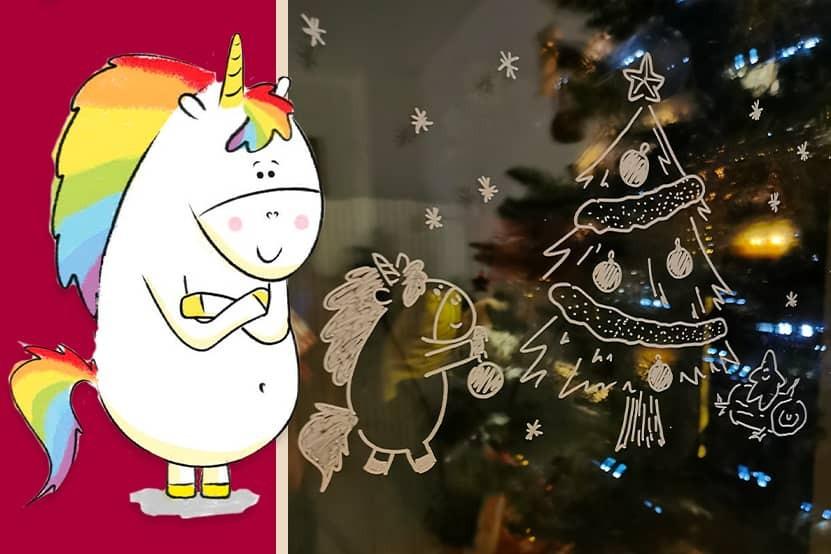 Gaston la licorne fête Noël  : Hachette Enfants vous offre un patron exclusif pour décorer vos fenêtres !