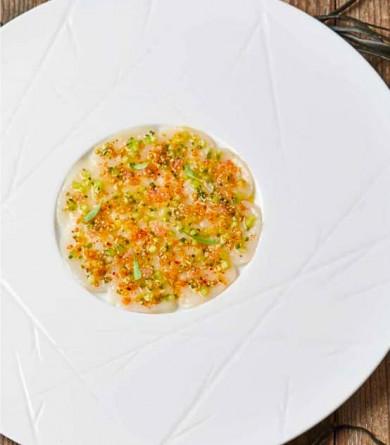 Carpa-froid de saint-jacques : la recette de Merouan Bounekraf